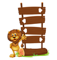 A lion and the wooden board vector image vector image