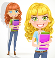 Cute teen girl with wavy hair keeps books vector image vector image