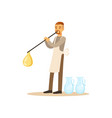man blowing glass vessel glass blower craft hobby vector image