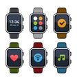 Smart Watch Icons Set Flat Style vector image