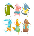 Funny baby dancing animals collection vector image