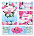springtime flower greeting card banner template vector image