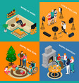 disabled people isometric compositions vector image