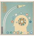 Retro Flat Design Businessman Head Thought Idea vector image