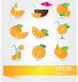 set of icons with orange vector image