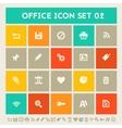 Office 2 icon set Multicolored square flat vector image