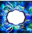 Blue flare lights background with vintage frame vector image