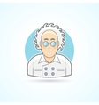 Crazy scientist nerd in glasses and overall icon vector image
