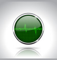 electrocardiogram sign green round 3d icon with vector image