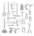 Gardening tools sketches for farming design vector image