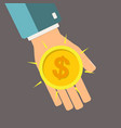 golden coin in hand profit concept vector image