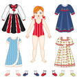paper doll and set of clothes - dresses and shoes vector image