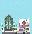 winter view buildings poster vector image