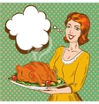 woman with thanksgiving vector image