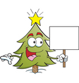 Cartoon Pine Tree Holding a Sign vector image
