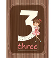 Flashcard number 3 with number and word vector image