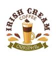 Irish Cream Coffee Cafe emblem vector image