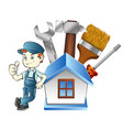 repairman at home with a tool vector image