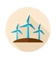 Windmill flat icon with long shadow vector image