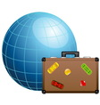 Travel concept Blue globe and travel suitcase vector image vector image