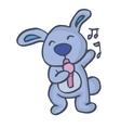 Rabbit singing happy cartoon vector image