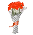 Beautiful Red Poppies in Newspaper vector image
