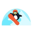 Little cute penguin snowboarding vector image
