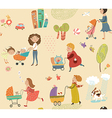 Pattern with moms and babies vector image vector image