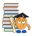 cartoon character graduation with books vector image vector image