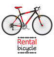 city bike hire rental bicycle for tourists in flat vector image