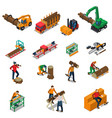 sawmill timber mill lumberjack icon set vector image