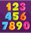 set of color numbers vector image