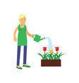 smiling blonde woman cartoon character watering vector image