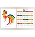 Calendar 2017 Chinese New Year Red Rooster vector image