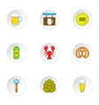 Barley drink icons set cartoon style vector image
