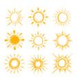 shining bright hand drawn happy sun set vector image