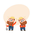 two funny farmer characters in overalls holding vector image
