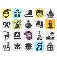 Christmas xmas set black icons signs and symbols vector image