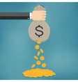 Golden coins fall out from money bag vector image