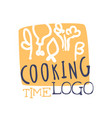 colorful handmade logo template for cooking food vector image