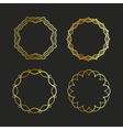 Golden outline emblems and badges frames vector image