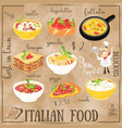 italian food menu vector image