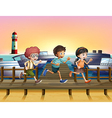 Kids running at the seaport vector image