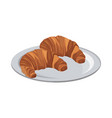 tasty yummy croissant bread bake food with plate vector image