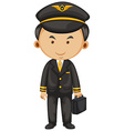 Pilot in black suit and briefcase vector image