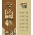 menu of coffee house vector image vector image