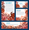 seafood restaurant and fish market banner template vector image vector image