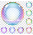 Set of multicolored soap bubbles vector image