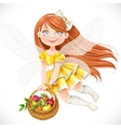 Fairy girl in yellow dress with basket of fruits vector image vector image