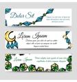Diamonds and moon banners set vector image